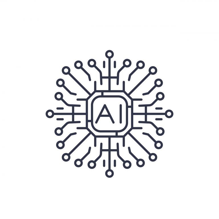 Text that reads AI surrounded by nodes